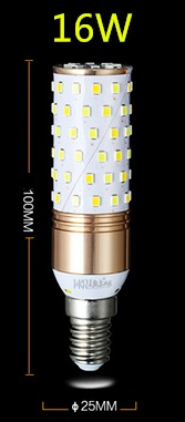 16 Watt E12, E14, E27 led candle bulbs
