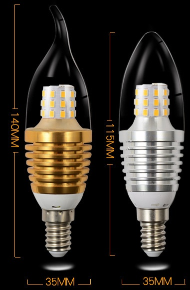 C35 shape 7 Watt E12, E14, E27 led candle bulbs