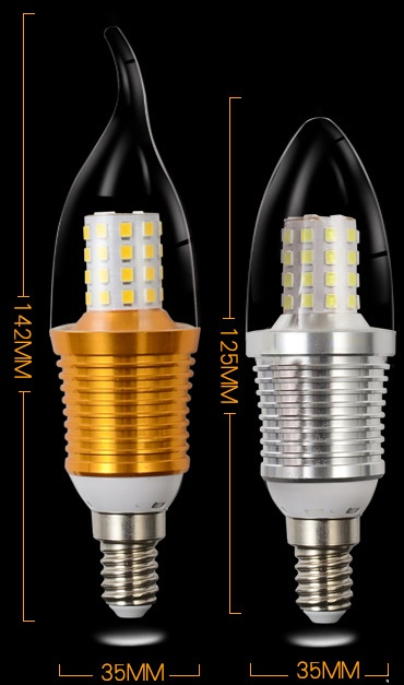 C35 shape 9 Watt E12, E14, E27 led candle bulbs