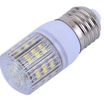 E27, 3W, 31mm w/cover w/48pcs 3528 SMD LED, Cool white, 120V