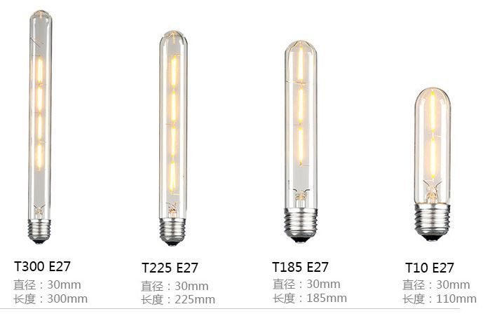 2 Watt led filament bulb E27 T110 like incandescent bulb