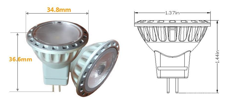 GU4 base, 1.6 Watt MR11 LED spotlights