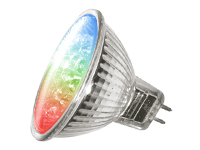 2.1 watt MR16 RGB spotlight,Using 21 pcs TriColor LED, AC/DC 12V
