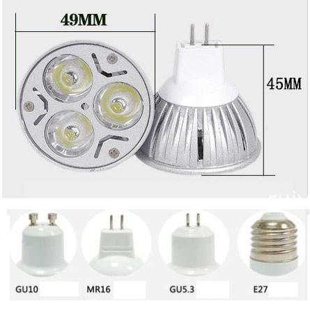 3W GU5.3 marine LED bulb, MR16 GU10 E27 Machine tools LED, 24V