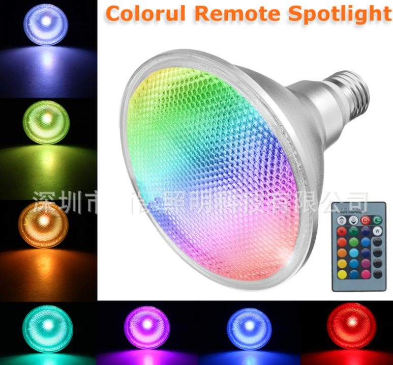 PAR38 LED lights bulbs, 20 watt colorful remote RGB changing